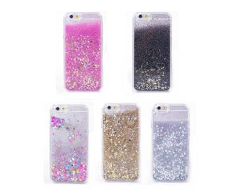 Liquid Glitter Quicksand Stars Pink Black Colorful Gold Silver Case Coque For iPhone 8, iPhone 8 Plus 7 6 Plus 6 6S 5 5S SE 4 4SFundas