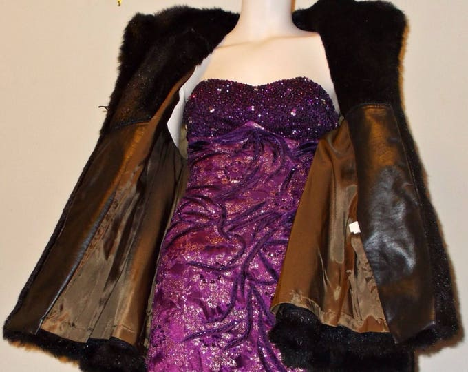 Vintage 80s May Queen Couture Purple Hand Beaded Sequined Lace Strapless Womens Evening Special Occasion Full Length Dress