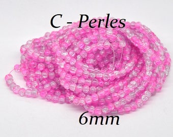 30 transparent/pink 6mm cracked glass beads