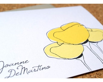 Flower Yellow Poppy Personalized Stationery Note Card Set - Yellow Poppies Notecards - Personal Stationery - Flat Note Cards
