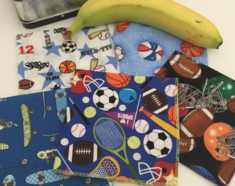 Sports Napkins, Childrens' Cloth Napkins, Kids Cloth Napkins