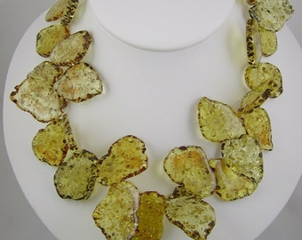 Acrylic Golden Amber Chip Necklace Swirly Girls