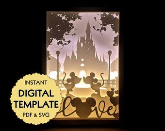 Template Disney Love with Mickey Mouse and Minnie Mouse Paper Cut File, Silhouette Light Box Tutorial - PDF, SVG Digital Download