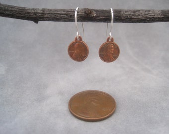 Miniature Penny Earrings- Miniature Penny Charm - Penny Charm Earrings - Copper Penny- Lucky Jewelry - Meaningful Jewelry