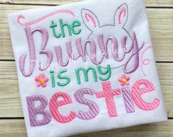 The Easter Bunny is my Bestie Girls Pink Purple Mint Rabbit First Easter Embroidery Shirt Tshirt Bodysuit Bunny Top 3m 6m 12m 18m 2 3 4 5 6