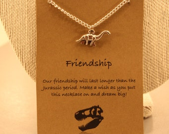 Dinosaur Necklace: Dinosaur Friendship Necklace, Best Friends, Best Friend Necklace, Dinosaur Jewelry, Jurassic Park, Wish Jewelry