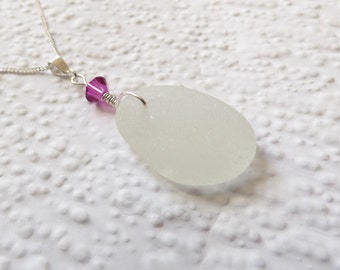 White Seaham seaglass and hot pink Swarovski crystal sterling silver necklace- genuine English sea glass, jewellery set, matching items