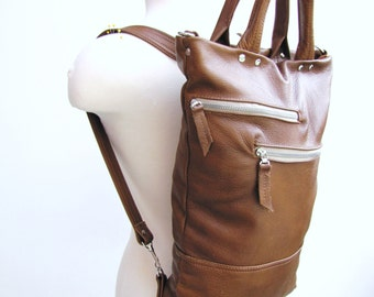 Clearance sale - Tan leather unisex laptop bag convertible backpack and messenger - Antique Tan - Ready to ship