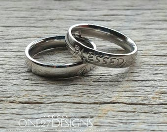 Customizable Hand Stamped Ring Blessed Ring Mothers Ring Personalized Name Ring 4mm Shiny Stainless Steel Inspirational