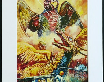 Japanese Monster KAIJU vintage print from 1960s, Hidora and Dodongo, part of the Godzilla series
