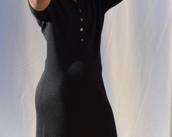 Black Wool Knit Polo Dress.