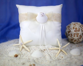 Rhinestone Shell Hawaiian Beach Wedding Ring Bearer Pillow - 75105