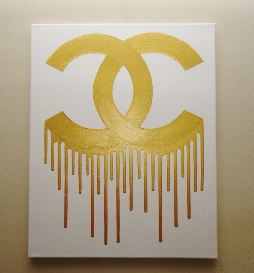 Chanel Drip Painting 16x20 CC Inspired White and Gold Art