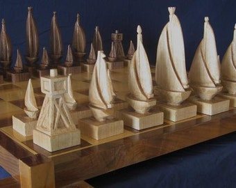 Chess set Sailboat Chess Set handmade on etsy hand carved chess sets chess pieces chess boards