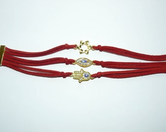 Jewish Judaica - All in one Bracelet - Hamsa,Magen David and EvilEye with Red String Kabbalah Bracelet.