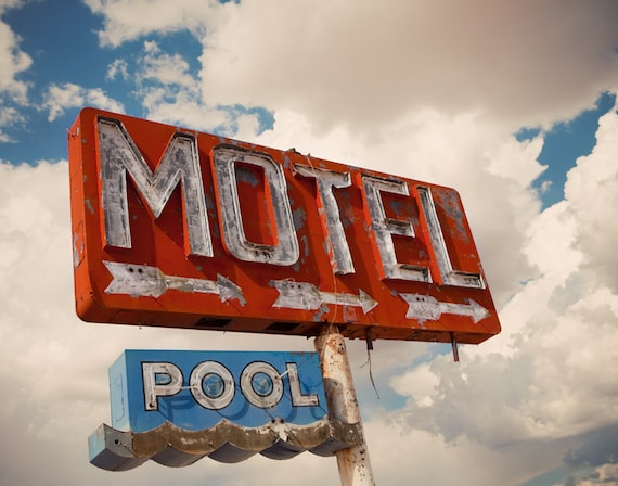 Abandoned Motel And Pool Neon Sign | Retro Home Decor | Motel Sign | Retro  Wall Art | Route 66 Travel | Fine Art Photography