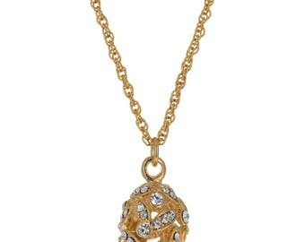 Gold Tone Crystal Leaves Egg Pendant Necklace 22""