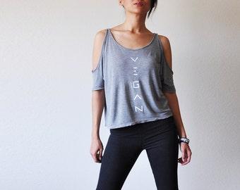 Vegan Clothing: Grey Split Sleeve Loose Top (Size Medium)
