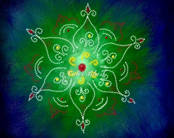 Rangoli Art Print - Rangoli Patterns. Painting print. Inviting art. Yoga and meditation Art. Wall decor. Home decor.