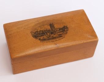 Antique Mauchline Ware Small Wooden Treen Trinket Box Bath Hotel & Cliff Cromer