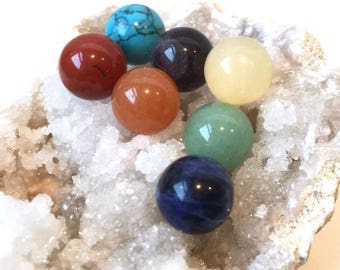 10mm Spheres, Chakra Crystal Set, 7 Chakra Stone Set, Genuine Gemstones, Undrilled, Gemstone Balls, Healing Crystals