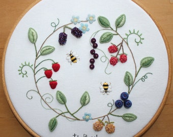 Fruit Wreath Stumpwork and Surface Embroidery Pattern