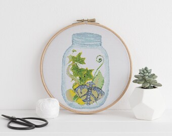 Succulent Terrarium Jar Minimalist cross stitch pattern PDF 5