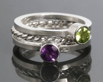 3 Stackable Rings: 2 Genuine Gemstone Rings & 1 Twisty Ring. Sterling Silver. Stacking Ring Set. Made to Order.