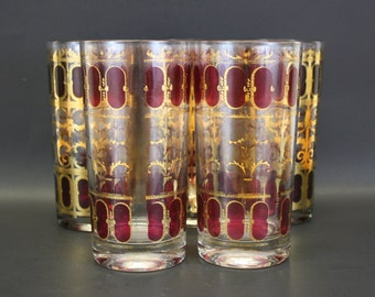 Vintage Culver Purple & Gold Hi Ball Glasses, Set of 5 (E7207)