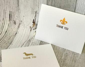 Dachshund or Fleur de Lis Thank You Note Card Set