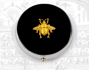 Round Metal Pill Box Gothic Victorian Bumble Bee Pill Case Inlaid in Hand Painted Black Enamel Custom Colors and Personalized Optiion