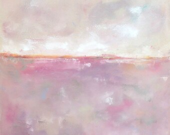 Pink Abstract Seascape Original Painting - Soft Pink Sea 24 x 24