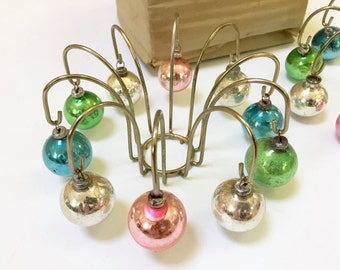 VINTAGE CANDLE TRIMMERS Set - Christmas Candles - Glass Feather Tree Ornaments - Pastel Ornaments - Hanging Balls