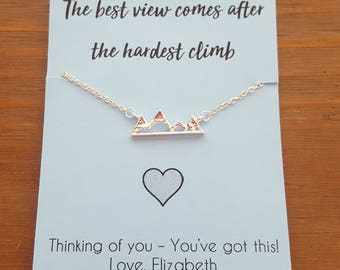 Mountain Pendant Necklace with Motivational Quote - Silver Mountain Pendant Necklace