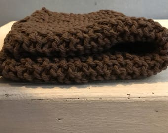 100% cotton handknit washcloths, knit dish cloth, housewares and cleaning supplies for your kitchen-cocoa brown
