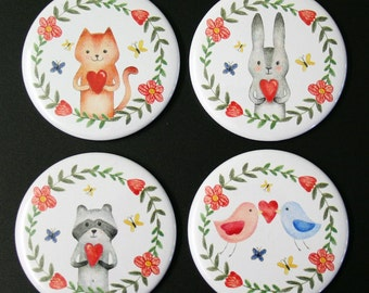 Love Animals Fridge Magnet Set of 4 cute illustration gift