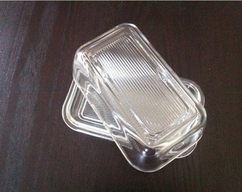 ARCOROC FRANCE  Clear Pressed Ribbed Glass Butter Dish with Lid / Covered Butter Dish / Glass Butter Dish / Butter Dish Vintage /