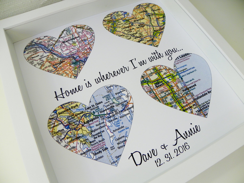 Bride Gift From Groom On Wedding Day: Wedding Day Gift Map Heart Art FRAMED Art Groom Gift Bride