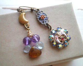 Crescent Moon Bohemian Dangle Earrings - Charms Crystals & Glass Bead Dangles  - Free Mason Eastern Star Boho Fashion Jewelry Gift For Her