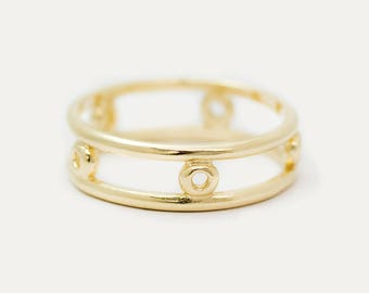 Double Band Circle Wide Ring, 14k Solid Gold Ring, Double Band Ring, Stacked Statement Ring, Wide Gold Ring, Minimal Solid 14K Gold Ring
