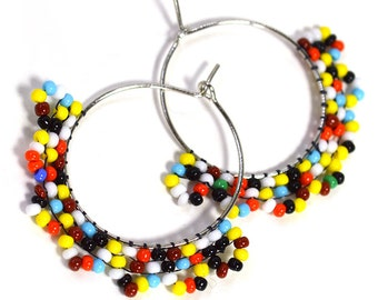 Colorful Beaded Hoop Earrings