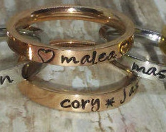 Hand stamped, Stackable Rings, Stack rings, Monogramming, Name RINGS Gold, Silver, Rose Gold, Stainless steel rings sizes 3 up