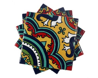 "Yellow, Teal & Red Talavera Style Coasters/Talavera Style Tiles -- ""Classic Medallion"" -- Set of Four"