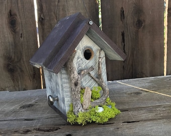 Birdhouse Handmade Recycled Wood Hand Painted Bird House White & Brown with White Washed Driftwood, Farmhouse Birdhouses, Item #585990059