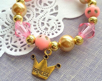 Princess bracelet, princess party, princess jewelry, gold tiara, crown bracelet, tiara bracelet, tiara jewelry, tiara party, SET OF TEN.