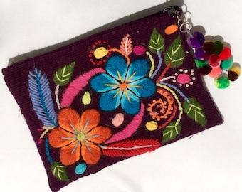 Purple Wool Hand Woven Clutch Bag