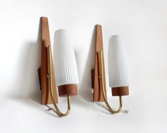 Pair of 1960s Teak Wall Lights. Midcentury modern Danish design sconces/ minimalist mcm wall lights Without wall brackets