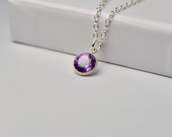 Amethyst Necklace, February Birthstone Necklace, Gem Necklace, Amethyst Jewelry, Amethyst Pendant Necklace, Wife Gift, For Women