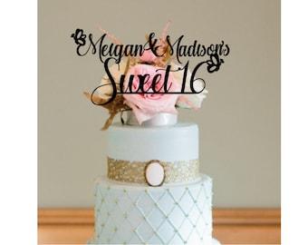 Sweet 16, Sweet 16 cake topper, cake topper sisters, cake topper twins, birthday twins, sweet sixteen decor, custom cake topper, twins