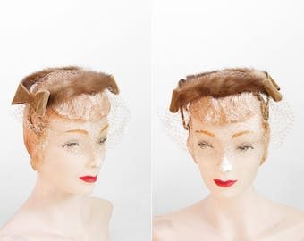 1950s Hat - 50s Hat - Brown Mink Fur And Velvet Veiled Hat / Headband